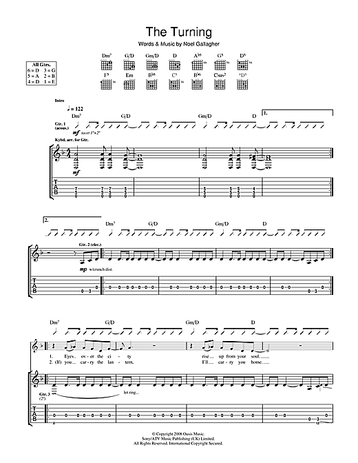 Tablature guitare The Turning de Oasis - Tablature Guitare