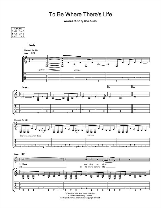 Tablature guitare To Be Where There's Life de Oasis - Tablature Guitare