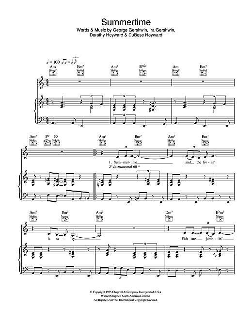 Summertime (from Porgy And Bess) Sheet Music