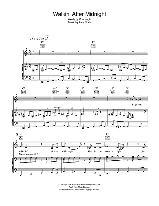 Walkin' After Midnight Sheet Music