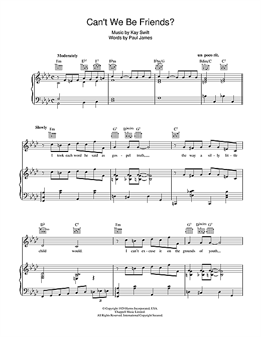 Can't We Be Friends Sheet Music