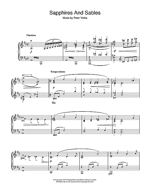 Partition piano Sapphires And Sables de Peter Yorke - Piano Solo