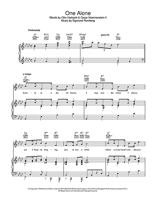 Partition piano One Alone de Sigmund Romberg - Piano Voix Guitare (Mélodie Main Droite)