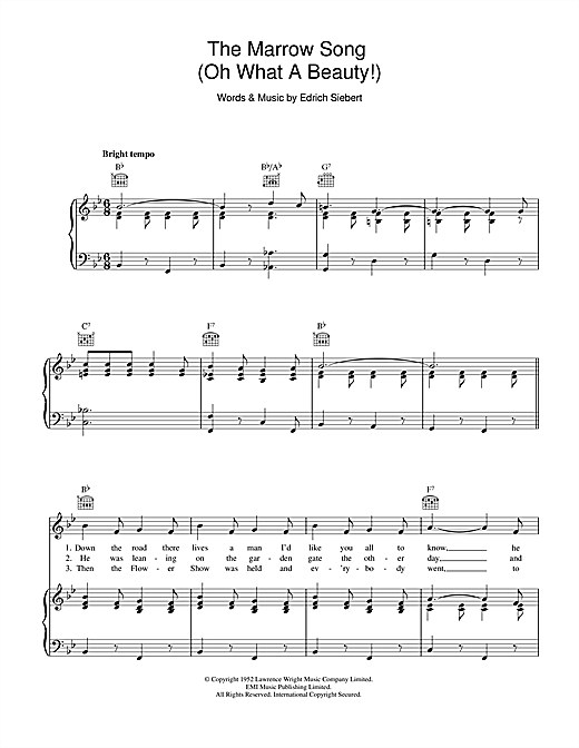The Marrow Song (Oh What A Beauty) Sheet Music