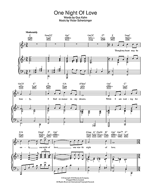 One Night Of Love Sheet Music