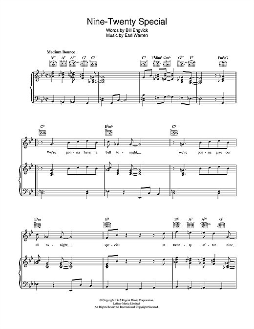 Nine-Twenty Special Sheet Music