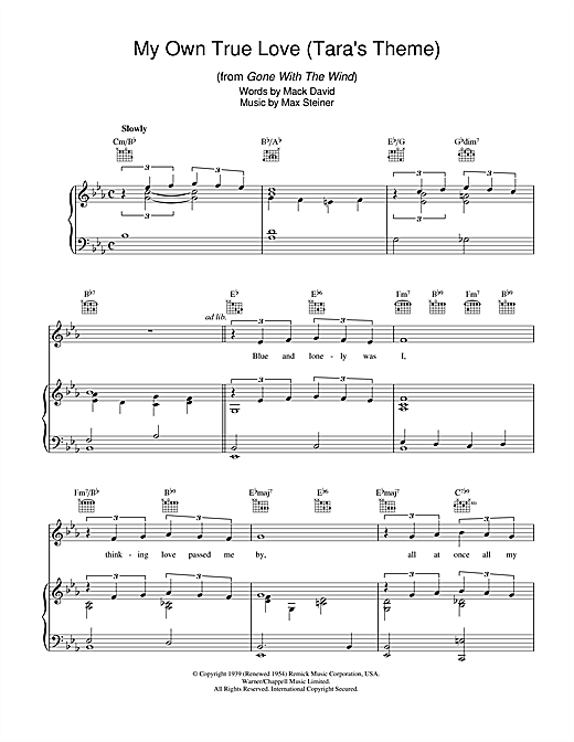 My Own True Love (Tara's Theme) (from Gone With The Wind) Sheet Music