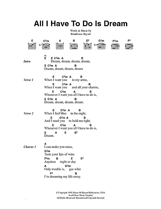 All I Have To Do Is Dream Sheet Music