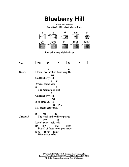 Blueberry Hill Sheet Music By Fats Domino Lyrics Chords 43344