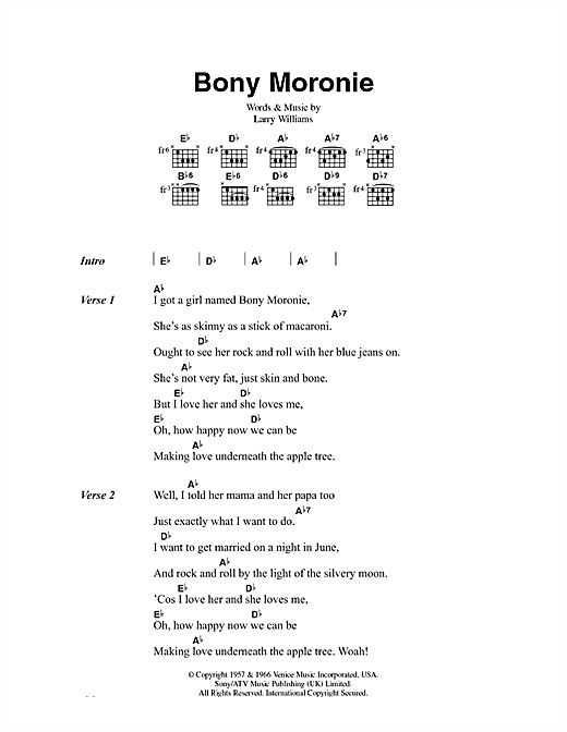 Bony Moronie Sheet Music