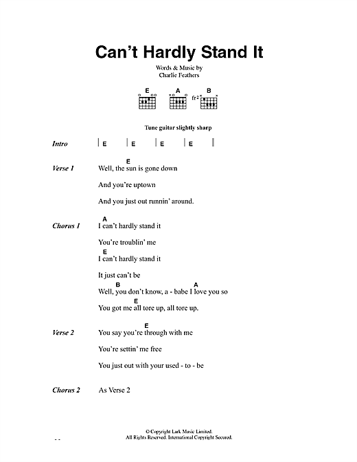 Can't Hardly Stand It Sheet Music