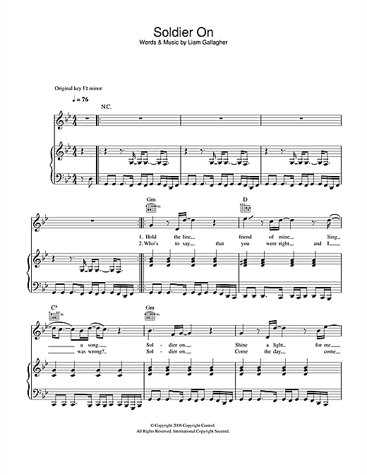 Soldier On Sheet Music