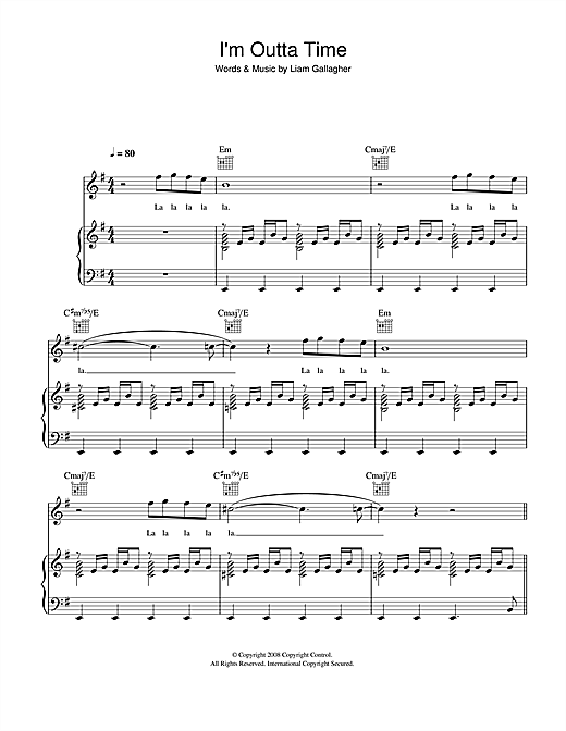 I'm Outta Time Sheet Music