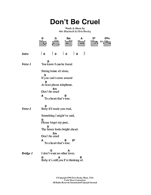 Don't Be Cruel Sheet Music