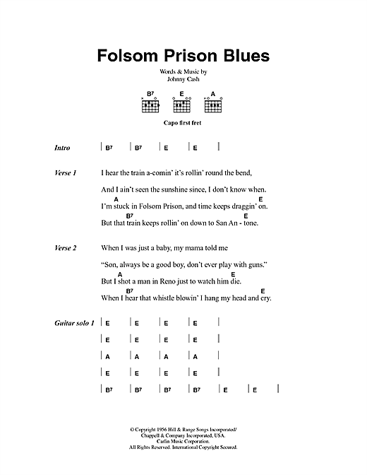 Folsom Prison Blues sheet music by Johnny Cash (Lyrics & Chords – 43365)