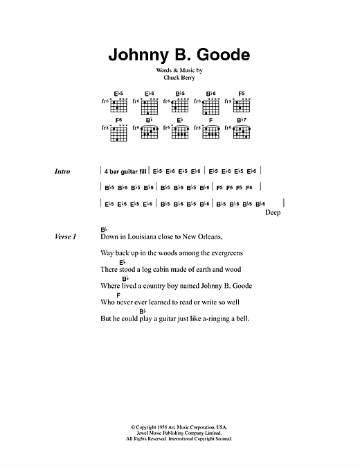 Johnny B. Goode Sheet Music