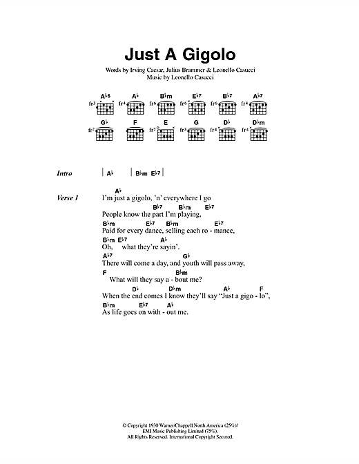 Just A Gigolo (Guitar Chords/Lyrics)