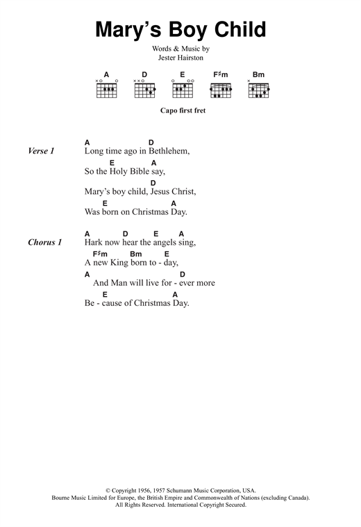 Mary's Boy Child Sheet Music