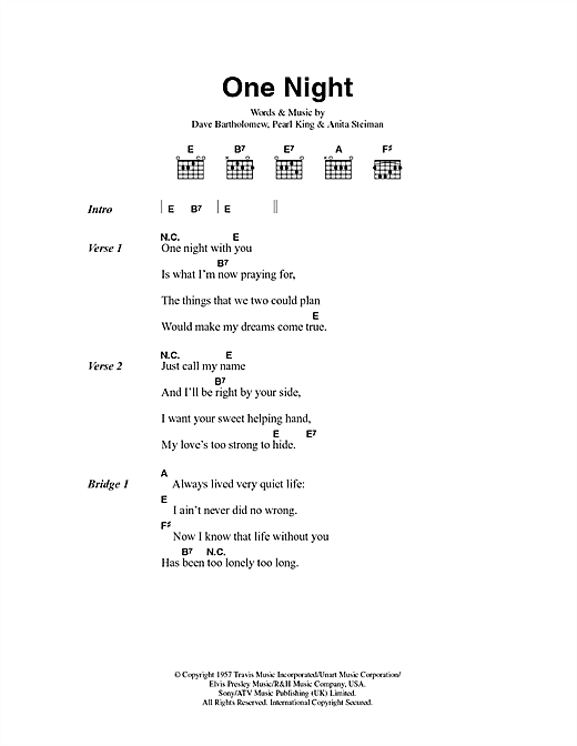 One Night Sheet Music By Elvis Presley Lyrics Chords 43378