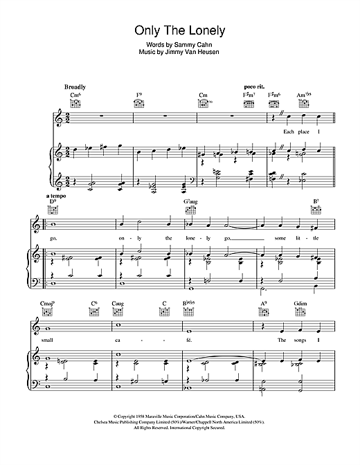 Partition piano Only The Lonely de Frank Sinatra - Piano Voix Guitare (Mélodie Main Droite)