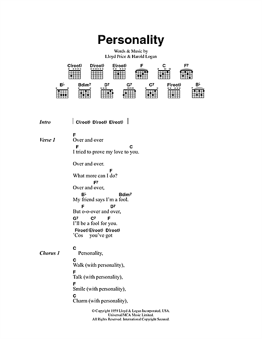 (You've Got) Personality Sheet Music