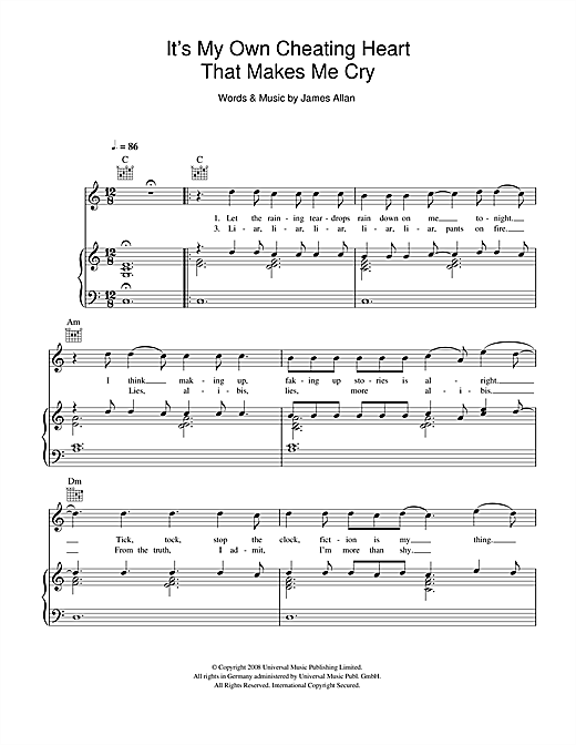 It's My Own Cheating Heart That Makes Me Cry Sheet Music