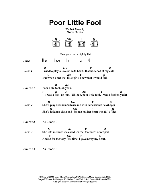 Poor Little Fool Sheet Music