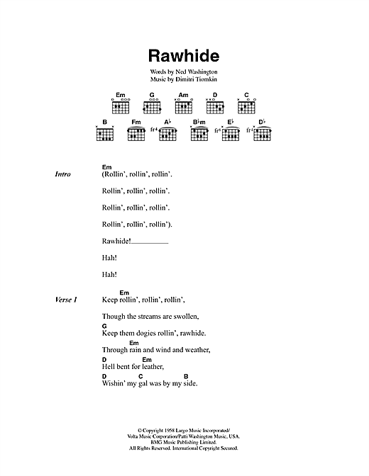 Rawhide Sheet Music
