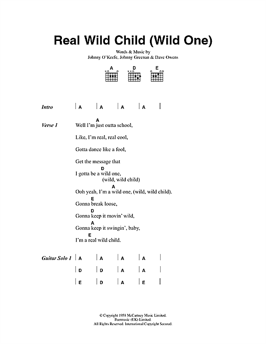 Real Wild Child (Wild One) Sheet Music
