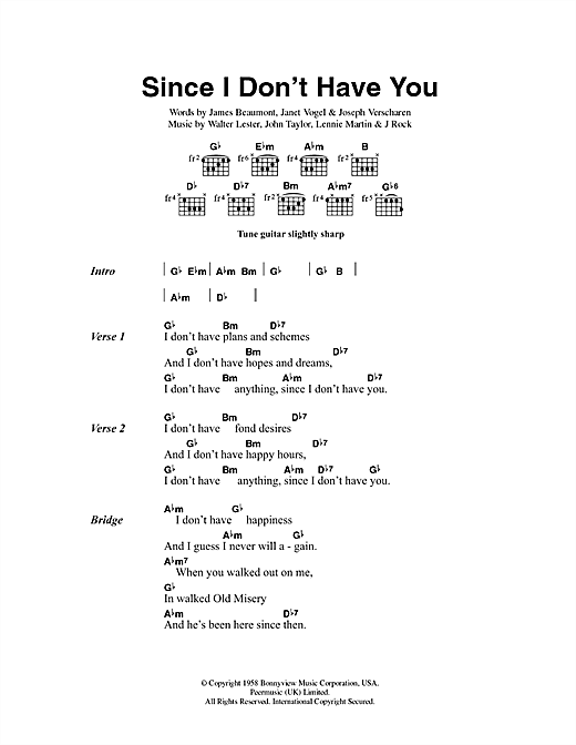 Since I Don't Have You Sheet Music