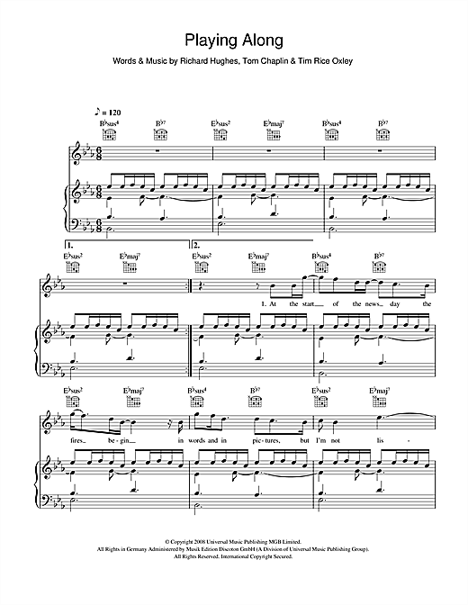 Playing Along Sheet Music