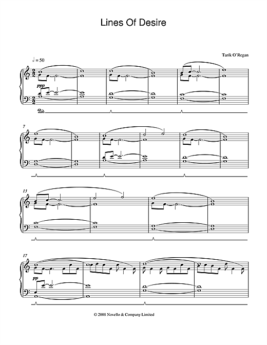 Partition piano Lines Of Desire de Tarik O'Regan - Piano Solo