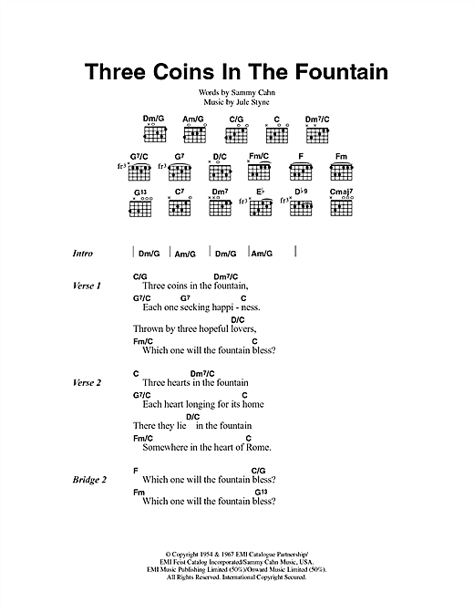 Three Coins In The Fountain Sheet Music By Frank Sinatra Lyrics