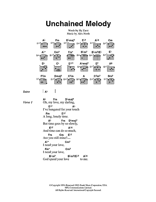 Unchained Melody sheet music by Jimmy Young (Lyrics u0026 Chords u2013 43499)