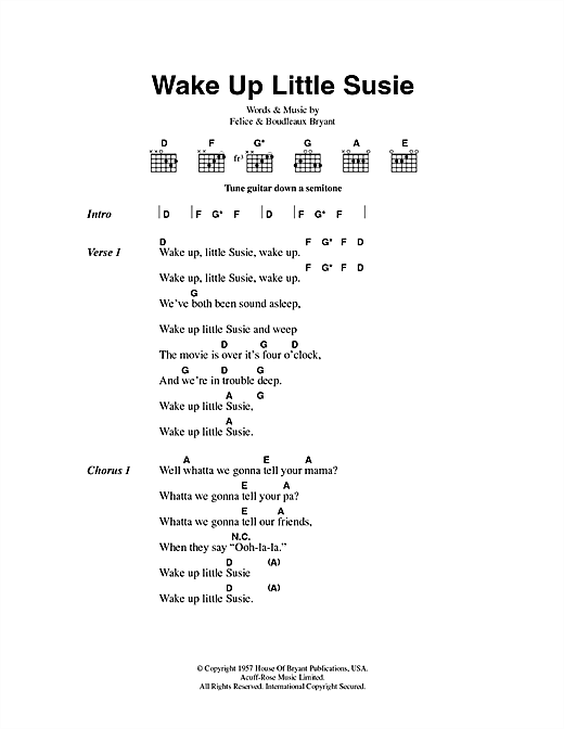 Wake Up Little Susie Sheet Music By The Everly Brothers Lyrics