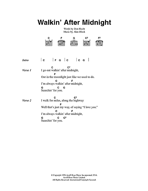 Patsy Cline Walkin After Midnight Chords Ukulele Wiring Diagrams