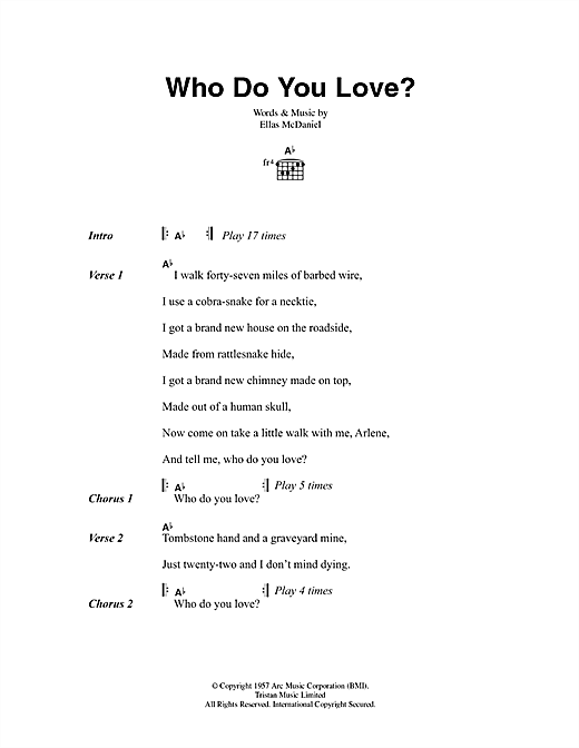 Who Do You Love Sheet Music