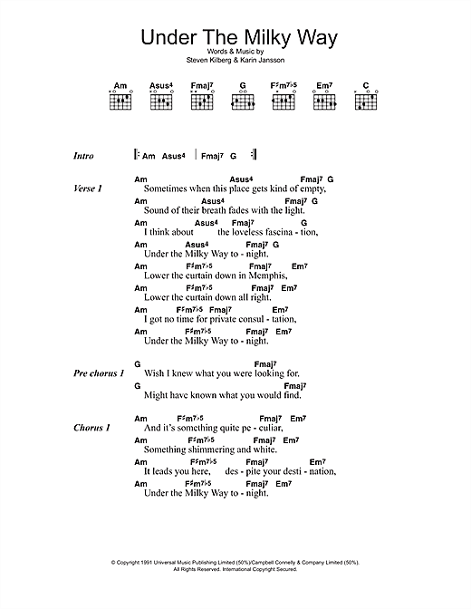 Piano church piano chords : Under The Milky Way sheet music by The Church (Lyrics & Chords ...