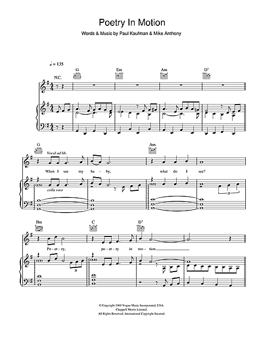 Poetry In Motion Sheet Music