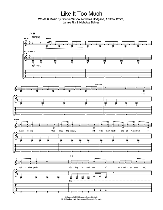 Tablature guitare Like It Too Much de Kaiser Chiefs - Tablature Guitare