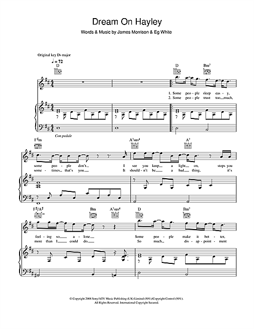 Dream On Hayley Sheet Music