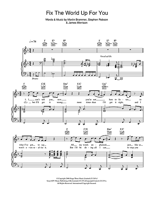 Fix The World Up For You Sheet Music