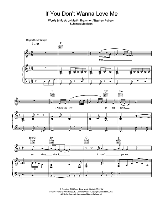 If You Don't Wanna Love Me Sheet Music