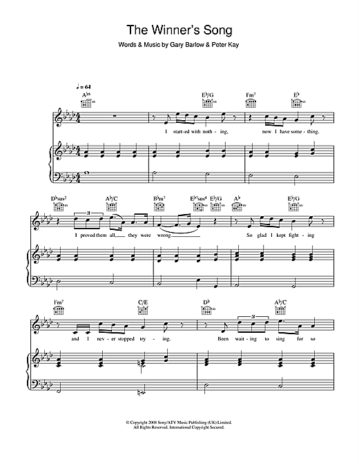 The Winner's Song Sheet Music