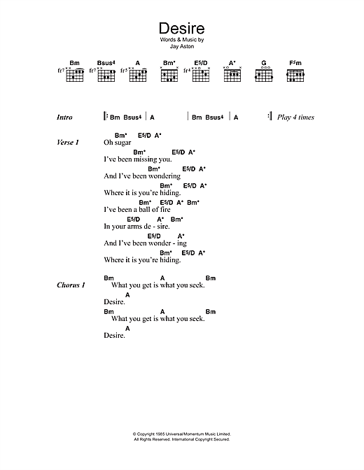 desire sheet music by gene loves jezebel lyrics chords