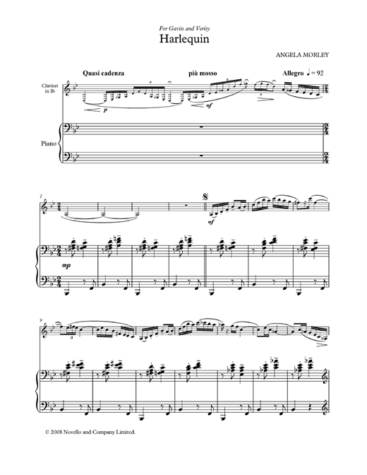 Partition clarinette Harlequin (score and parts) de Angela Morley - Clarinette