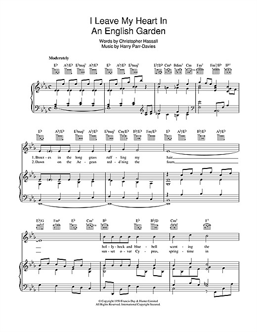 I Leave My Heart In An English Garden Sheet Music
