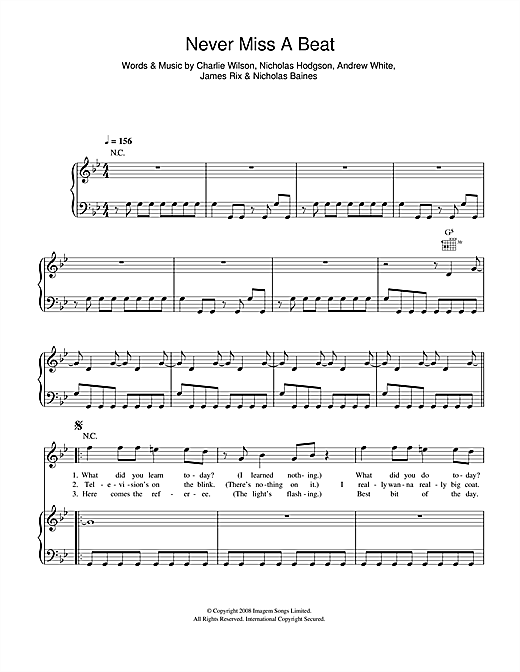 Never Miss A Beat Sheet Music