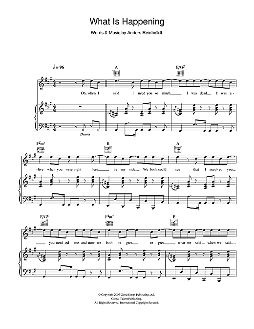 What Is Happening Sheet Music