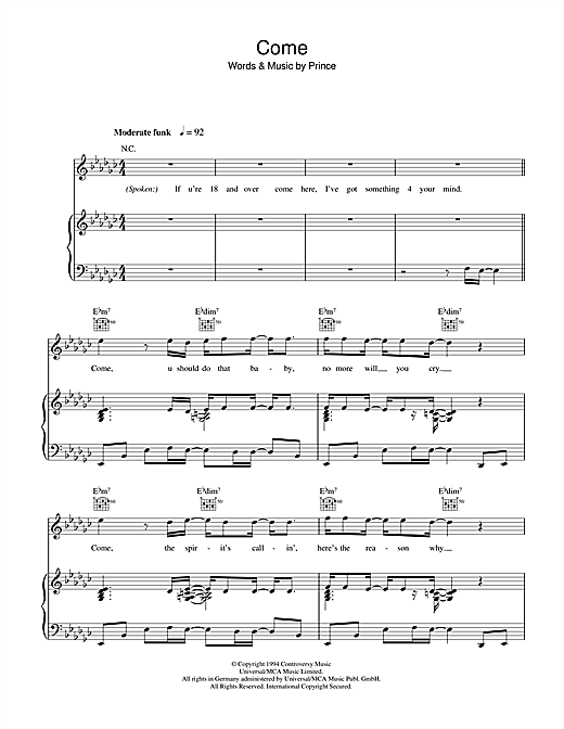 Come Sheet Music